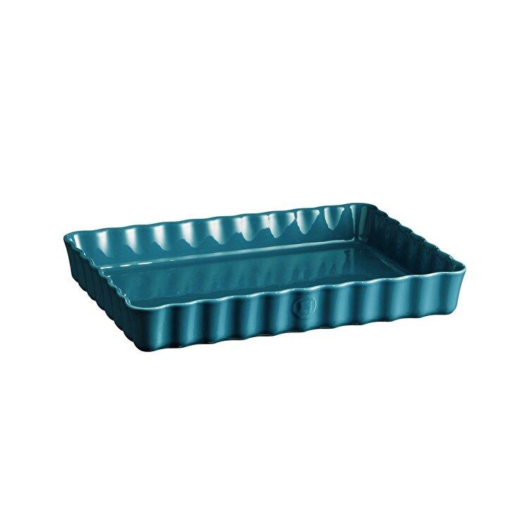 Tava ceramica pentru tarte, Mediterranean Blue, Emile Henry, 33.5 x 24 cm, 603860, ceramica, Albastru