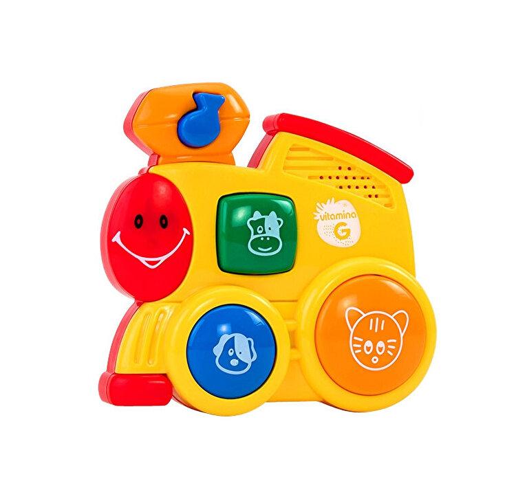 Jucarie muzicala cu sunete, model Locomotiva galbena, Globo Vitamina G, pentru copii de la GLOBO