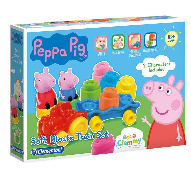 Set Soft Clemmy, tren cu cuburi moi, Peppa Pig de la Clementoni