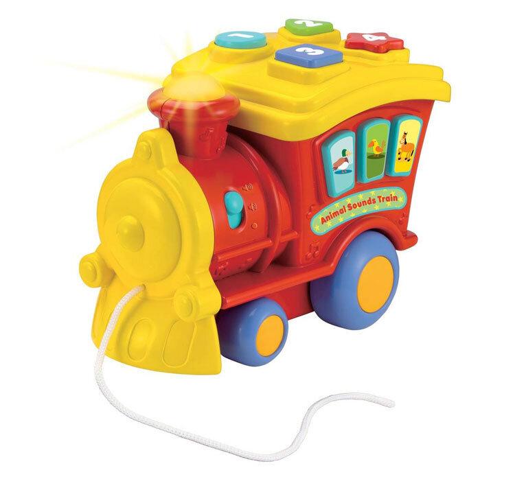 Locomotiva muzicala pentru copii Winfun de tras cu melodii si sunete de la Winfun