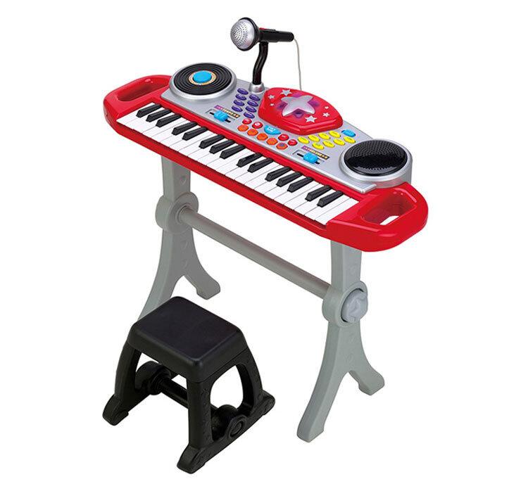 Orga muzicala cu scaunel Winfun Consola DJ cu platane si microfon Rosu cu negru de la Winfun