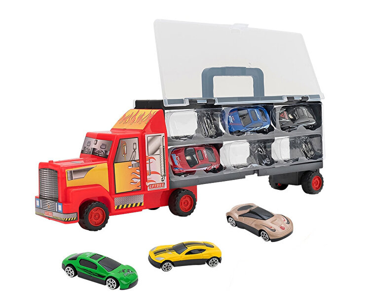 Camion rosu care transporta 6 masinute metalice, Globo Spidko, multicolor de la GLOBO