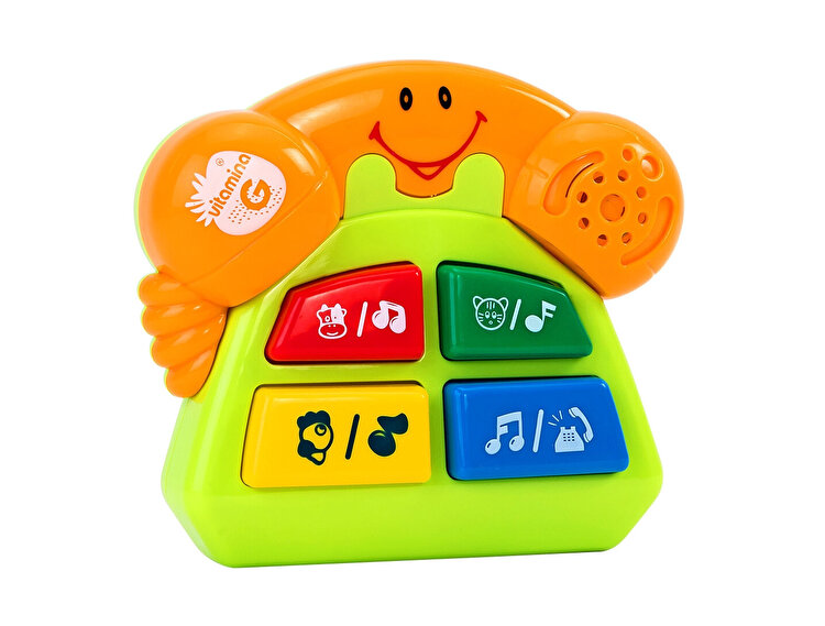 Jucarie muzicala cu sunete, model Telefon galben, Globo Vitamina G, pentru copii de la GLOBO