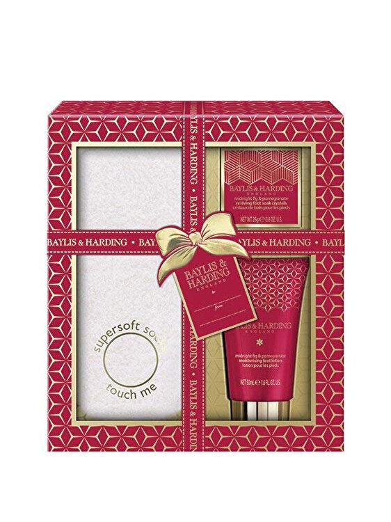 Set cadou Midnight Fig & Pomegranate: Sare de baie pentru picioare, 25g + Lotiune pentru picioare, 50ml + Sosete