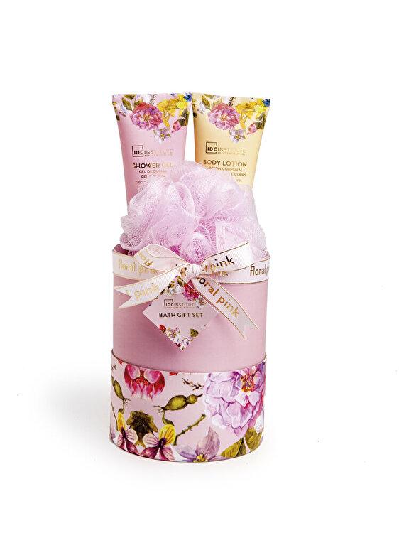 Set cadou Floral Pink: Gel de dus, 65ml + Lotiune de corp, 35ml + Burete pentru baie