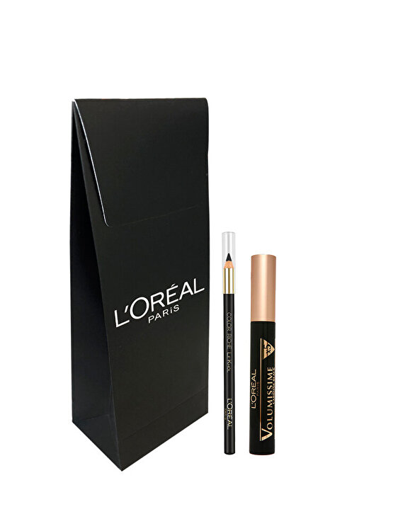 Trusa L Oreal Paris: Mascara Volumissime Carbon Black, Creion de ochi Le Khol 101 Midnight Black