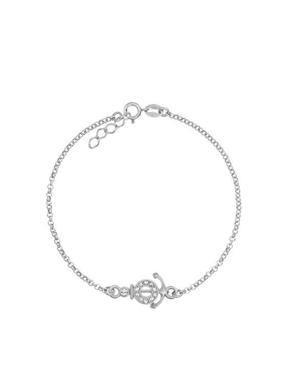 Bratara e-Crystal Argint 925 placat cu rodiu si Charm Ancora cu Cristale Swarovski BSANCHORSW