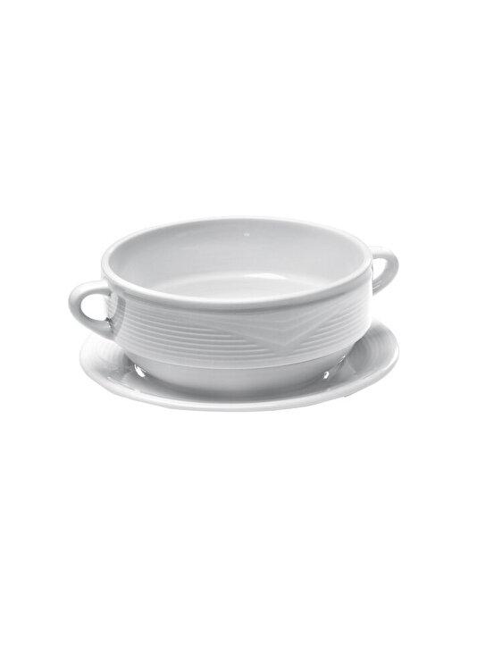 Farfurie pentru bol supa, Hendi SATURN, 180 mm, 794456, portelan, Alb