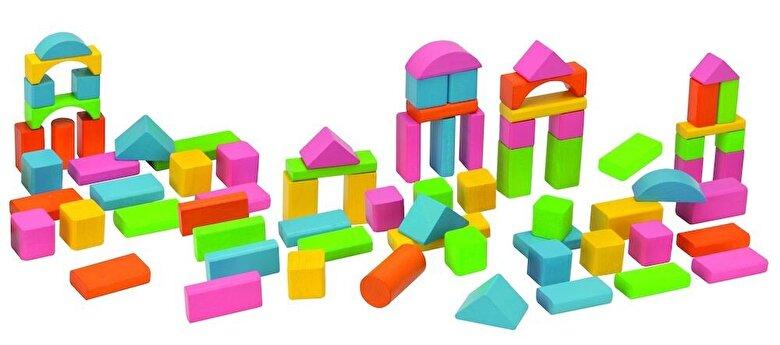 Eichhorn - Set cuburi colorate lemn, 75 piese -