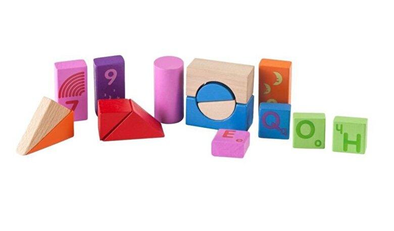 Momki - Set Cuburi lemn colorate, 51 piese -