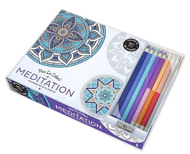 Abrams Noterie - Vive Le Color! Meditation (Adult Coloring Book and Pencils): Color Therapy Kit -