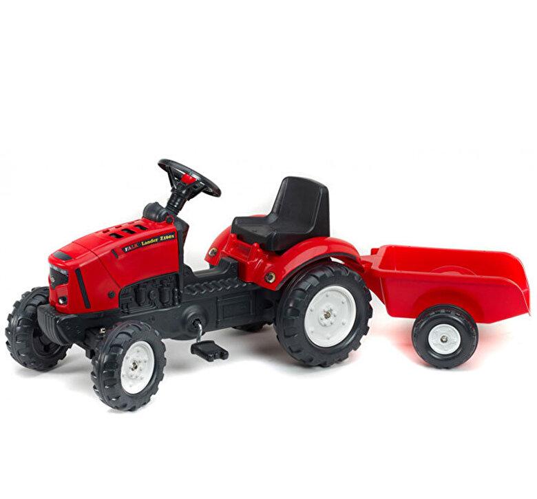 Falk - Tractor Falk pentru copii, cu pedale si remorca, Rosu -