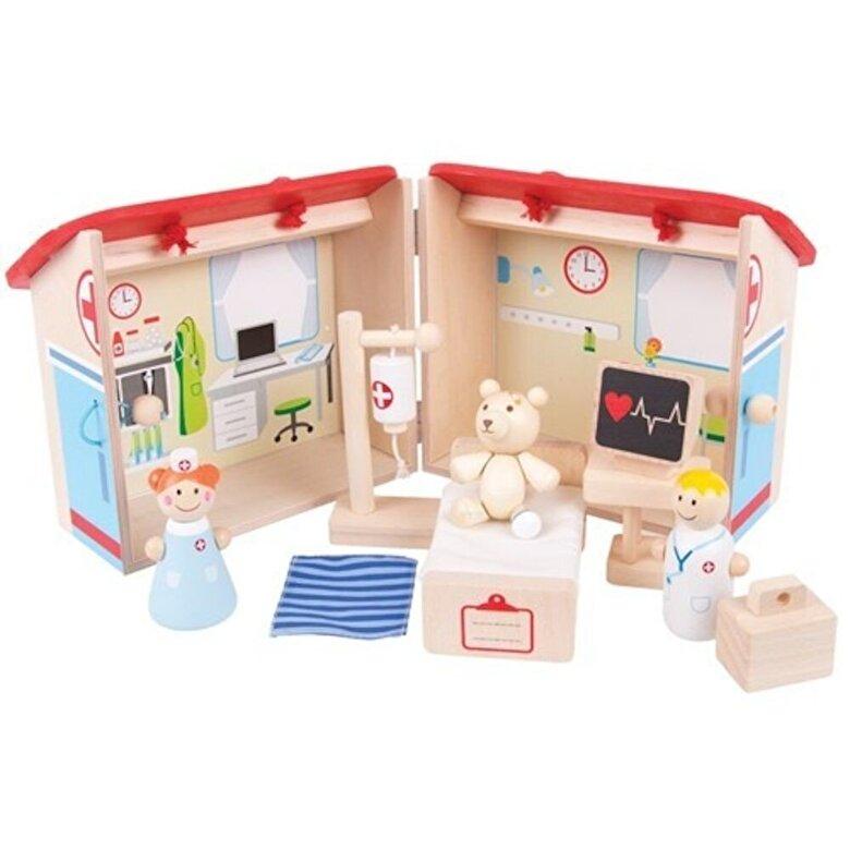 BigJigs - Set Mini spitalul animalelor, din lemn -