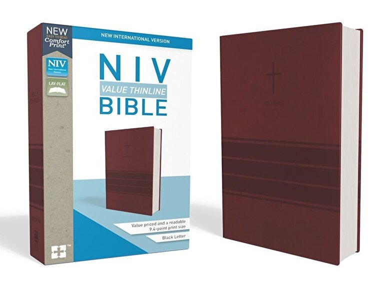 Zondervan - NIV, Value Thinline Bible, Imitation Leather, Burgundy, Hardcover -