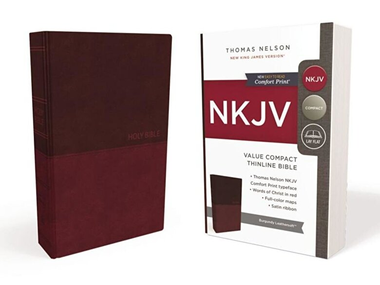 Thomas Nelson - NKJV, Value Thinline Bible, Compact, Imitation Leather, Burgundy, Red Letter Edition, Hardcover -