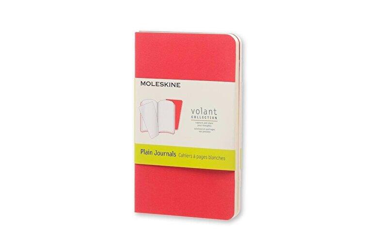 Moleskine - Moleskine Volant Journal (Set of 2), Extra Small, Plain, Geranium Red, Scarlet Red, Soft Cover (2.5 X 4) -