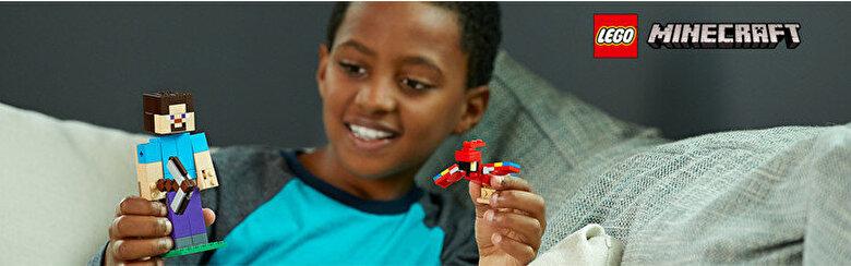 LEGO - LEGO Minecraft, Steve BigFig cu papagal 21148 -