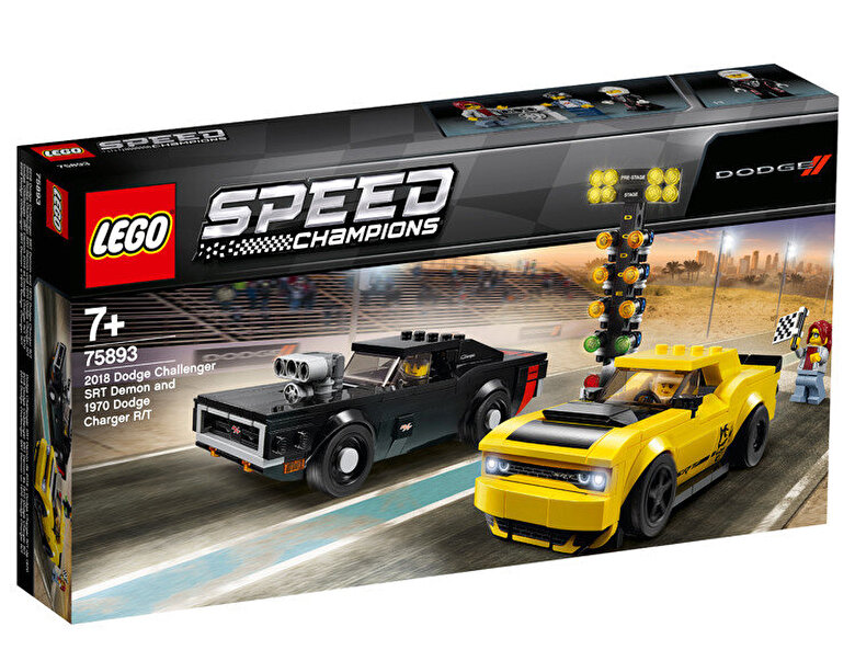 LEGO - LEGO Speed Champions, 2018 Dodge Challenger SRT Demon si 1970 Dodge Charger R/T 75893 -