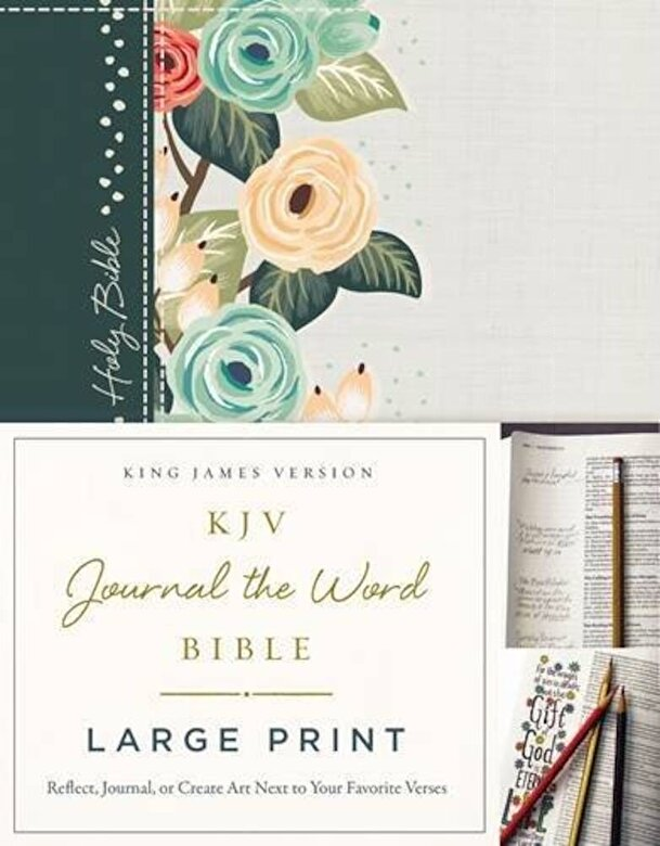 Thomas Nelson - KJV, Journal the Word Bible, Large Print, Green Floral Cloth, Red Letter Edition: Reflect, Journal, or Create Art Next to Your Favorite Verses, Hardcover -