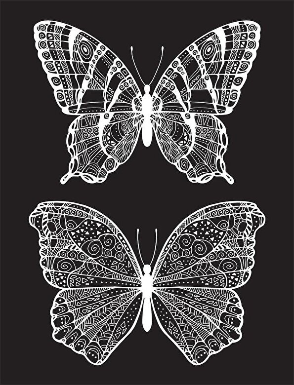 *** - Neon Colouring Kit with 6 highlighters: Butterflies (Kaleidoscope) -