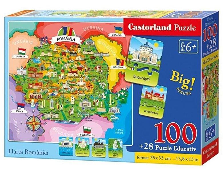 Castorland - Puzzle educativ Harta Romaniei, 128 piese -