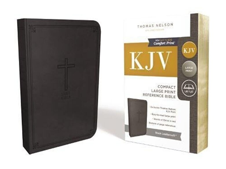 Thomas Nelson - KJV, Reference Bible, Compact, Large Print, Imitation Leather, Black, Red Letter Edition, Hardcover -