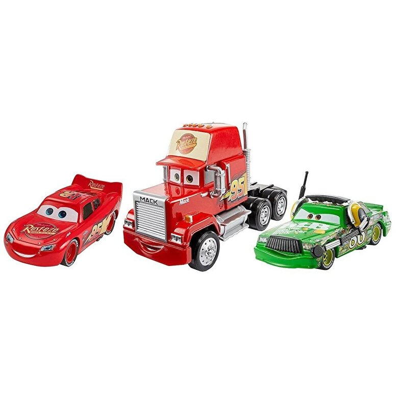 Mattel - Cars 3 - Set 3 masinute Deluxe Mack, Fulger McQueen si Chick Hicks -