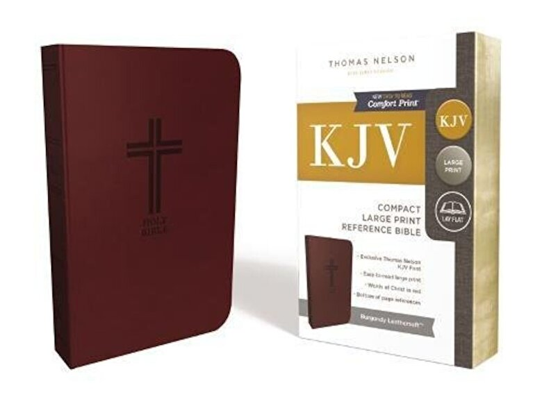 Thomas Nelson - KJV, Reference Bible, Compact, Large Print, Imitation Leather, Burgundy, Red Letter Edition, Hardcover -