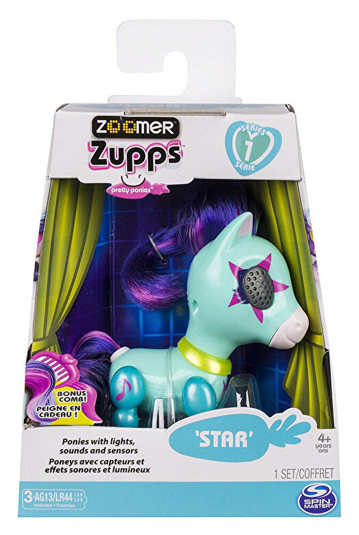 Spin Master - Jucarie interactiva Zoomer Zupps Ponei cu lumini si sunete - Star -