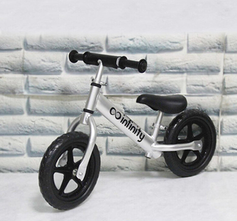 Infinity - Bicicleta fara pedale 12'', silver, cadru aluminiu -