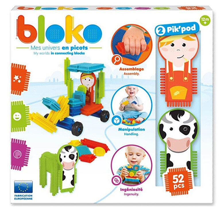Bloko - Set constructie Piko - Cutie cu 50 piese si 2 figurine Pik Pod Ferma -