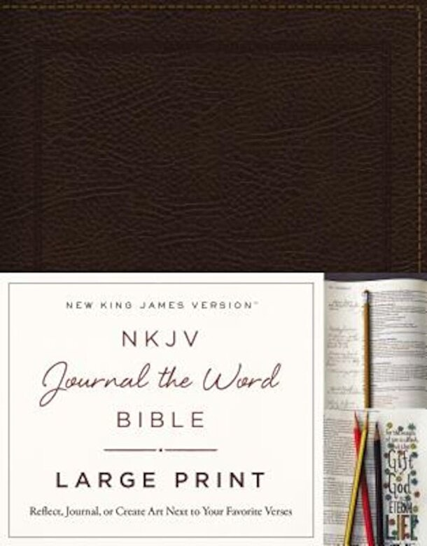Thomas Nelson - NKJV, Journal the Word Bible, Large Print, Bonded Leather, Brown, Red Letter Edition: Reflect, Journal, or Create Art Next to Your Favorite Verses, Hardcover -
