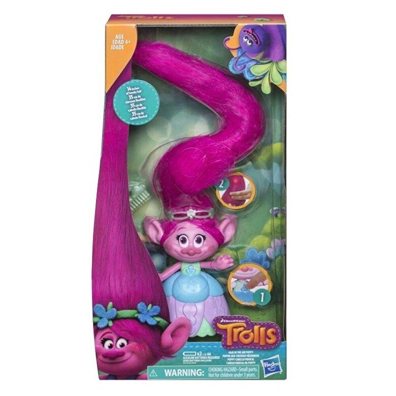 Trolls - Trolls, Figurina Poppy cu parul foarte lung -