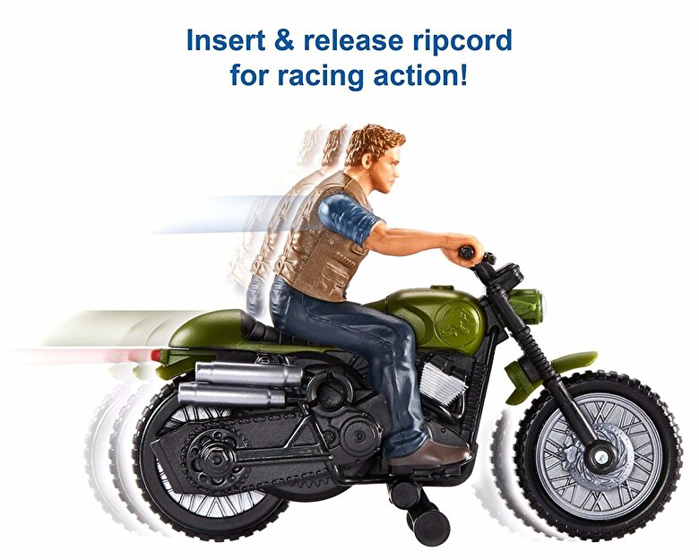 Mattel - Set de joaca Jurassic World Motocicleta lui Owen Rip-Run cu functii -