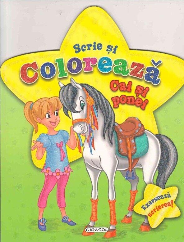 *** - Scrie si coloreaza cai si ponei - verde -