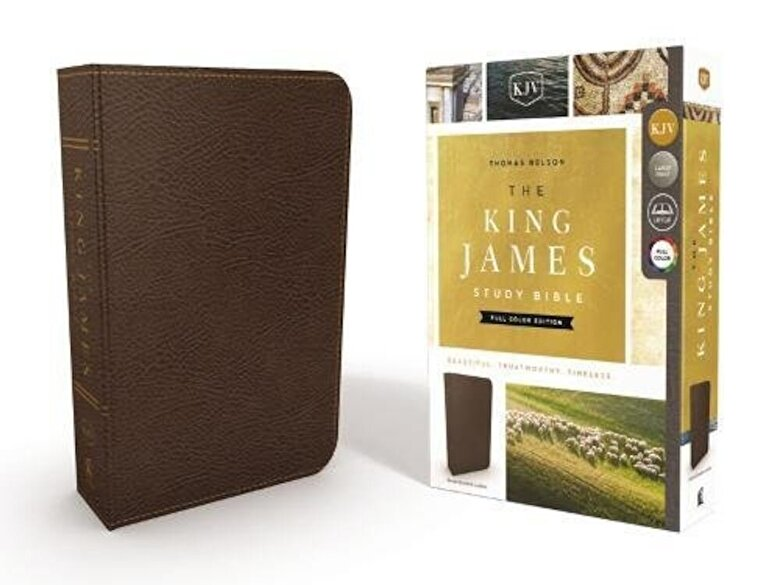 Thomas Nelson - The King James Study Bible, Bonded Leather, Brown, Full-Color Edition, Hardcover -