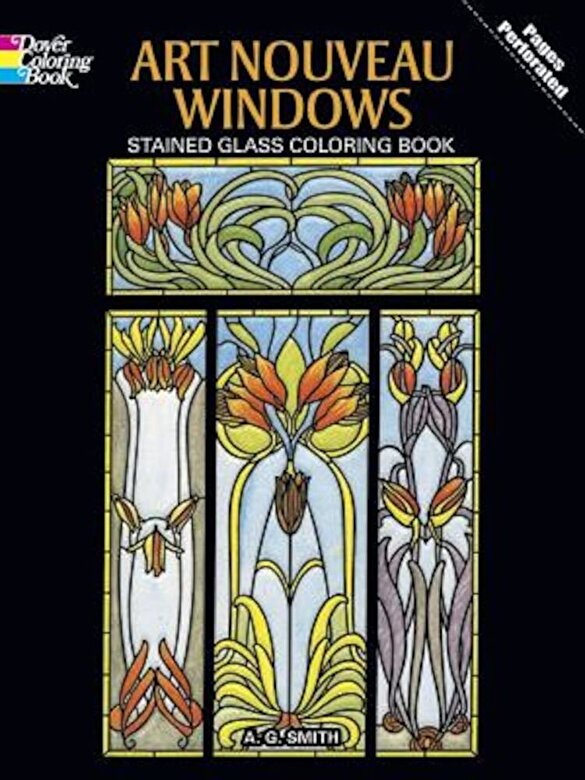 A. G. Smith - Art Nouveau Windows Stained Glass Coloring Book, Paperback -