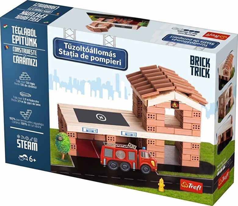Trefl - Brick Trick - Statia de pompieri, 130 caramidute ceramice -