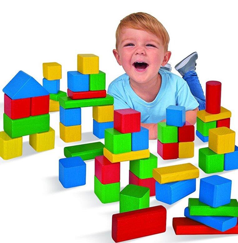 Eichhorn - Set cuburi colorate lemn, 50 piese -
