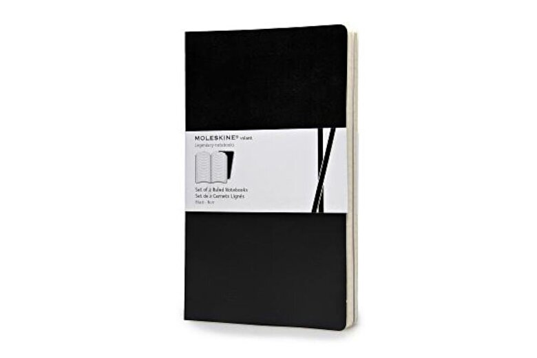 Moleskine - Moleskine Volant Notebook (Set of 2), Large, Ruled, Black, Soft Cover (5 X 8.25) -