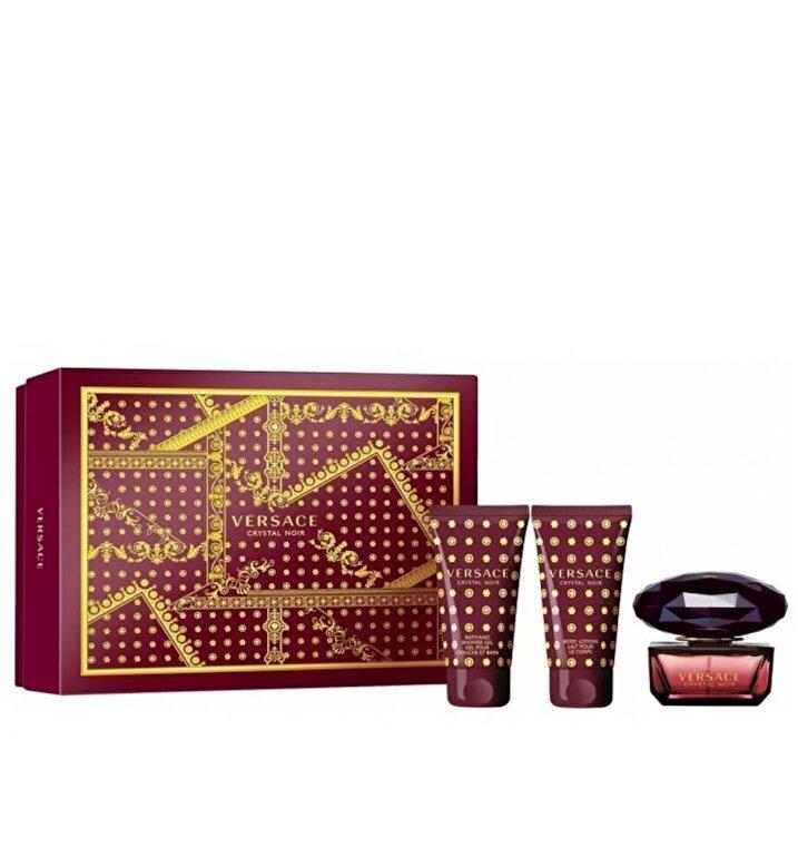 Versace - Set cadou Crystal Noir (Apa de toaleta 50 ml + Gel de dus 50 ml + Gel de dus 50 ml), pentru femei, Pentru Femei - Incolor