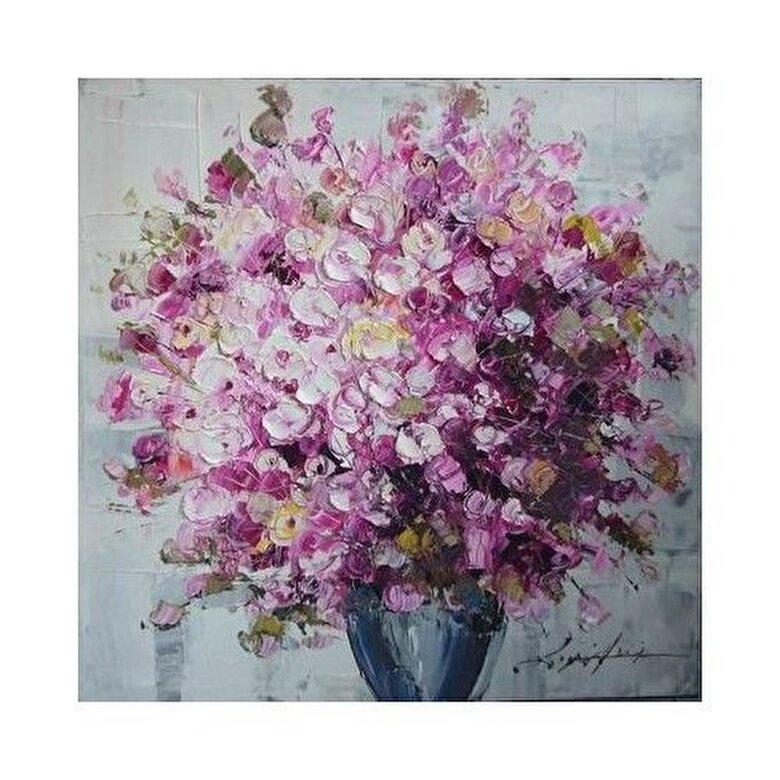 Mendola Art - Tablou pictat manual Mendola Art, Geranium roz, 218-OPE3108B, 60 x 60 cm - Gri-mov