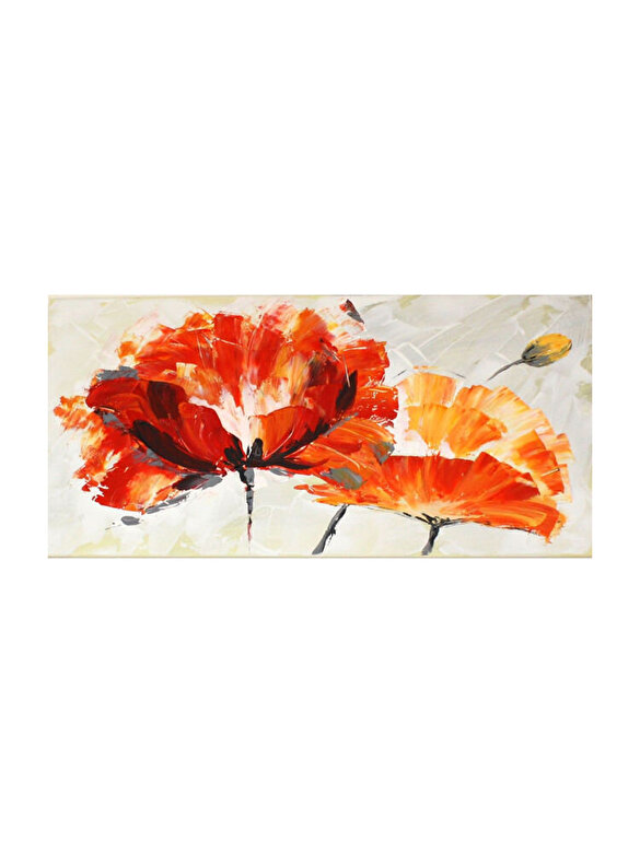 Mendola Art - Tablou pictat manual Mendola Art, Anemone, 218-OPG1276, 45 x 90 cm - Gri-galben