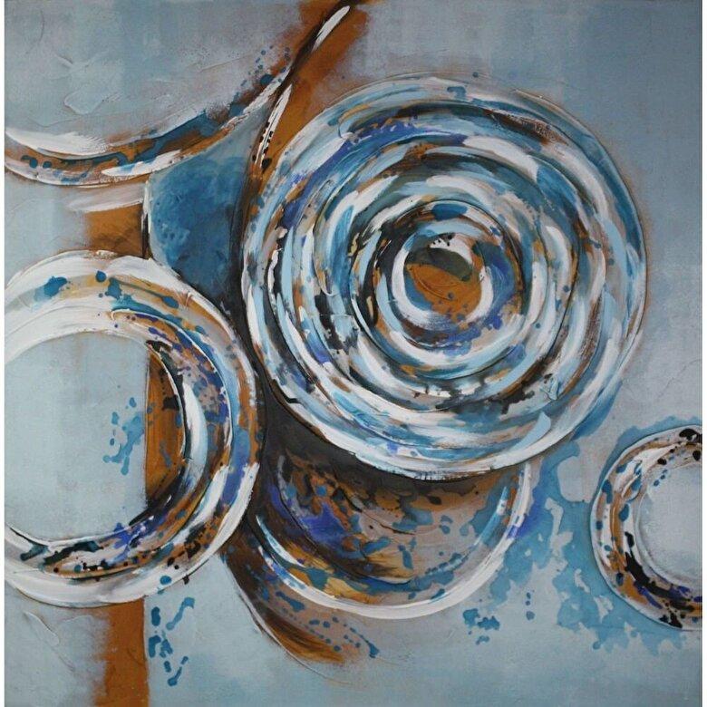 Mendola Art - Tablou pictat manual Mendola Art, Aquamarine, 218-OPIM3941, 100 x 100 cm - Gri-albastru