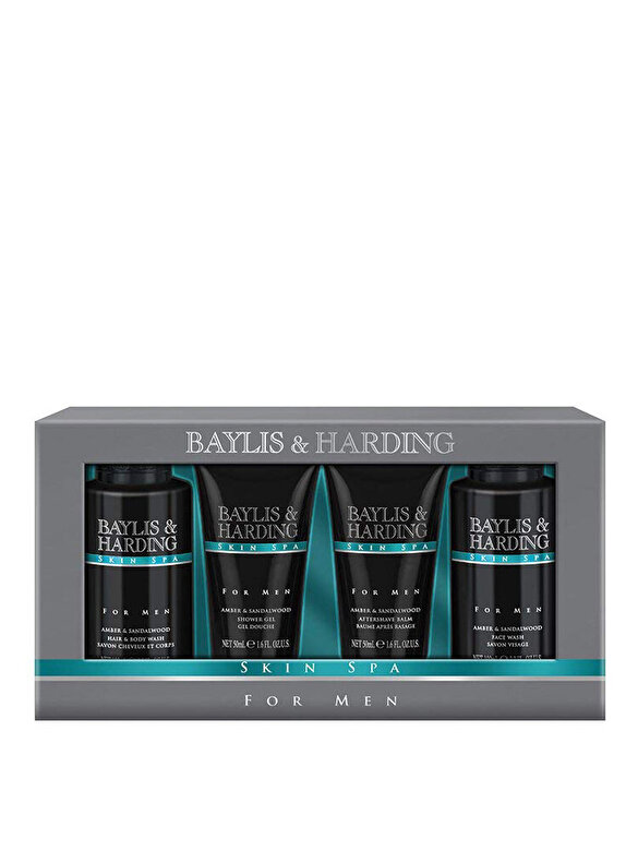 Baylis And Harding - Set cadou Skin Spa Men: Gel pentru corp si par, 100ml + Gel de dus, 50ml + Gel pentru curatarea tenului, 50ml + Aftershave Balsam, 50ml - Incolor
