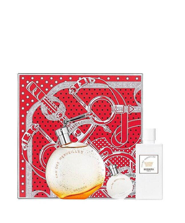 Hermes - Set cadou Eau de Merveilles (Apa de toaleta 100 ml + Apa de toaleta 7.5 ml + Lotiune de corp 80 ml), pentru femei, Pentru Femei - Incolor