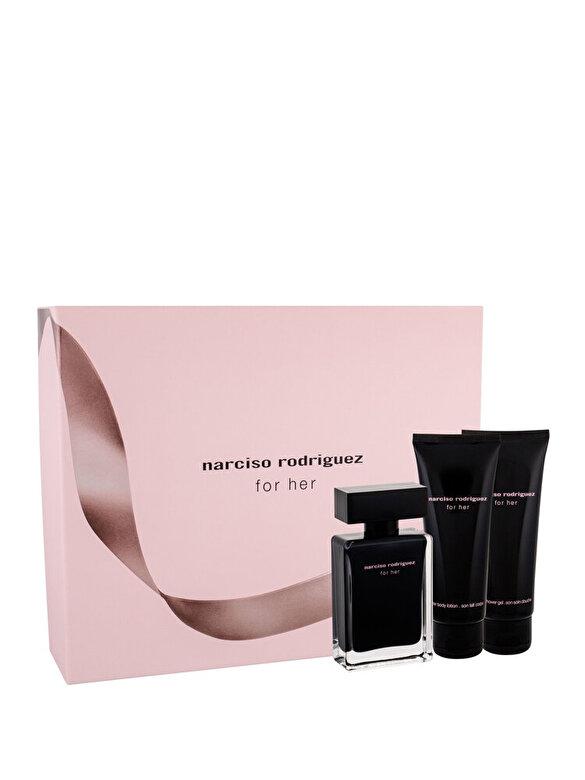 Narciso Rodriguez - Set cadou Narciso Rodriguez For Her (Apa de toaleta 50 ml + Lotiune de corp 75 ml + Gel de dus 75 ml), pentru femei - Incolor