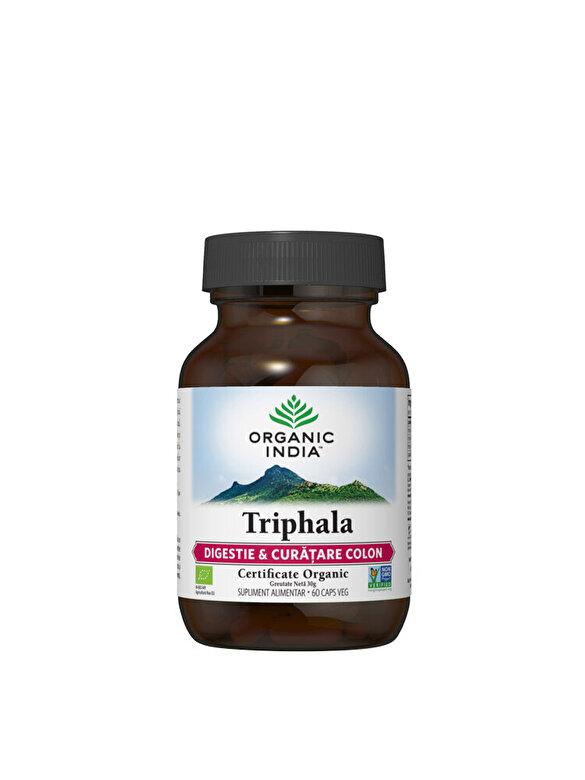 ORGANIC INDIA - Supliment alimentar natural Triphala Eco/Bio 60cps veg Organic India - Incolor