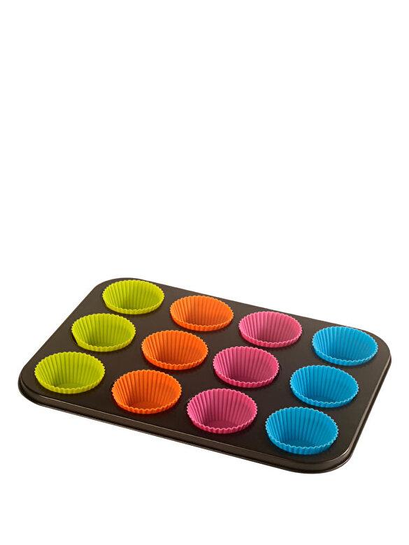 Vanora - Tava de copt pentru 12 briose, 35 x 26.5 x 3 cm - Negru