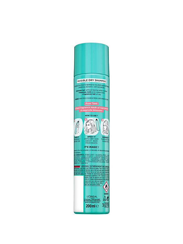 L Oreal Paris - Sampon uscat purificator L Oreal Paris Magic Shampoo Rose Tonic, 200 ml - Incolor